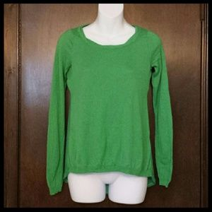 Anthro Little Yellow Bird Green Hi Low Sweater